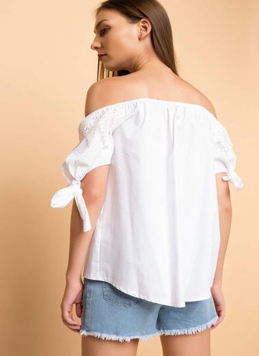 DeFacto Dantel Bluz Beyaz